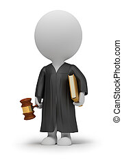 3d small people - judge in a cloak with a hammer and the...