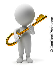 3d small people with a gold key. 3d image. Isolated white background.