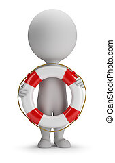 3d small people - lifebuoy - 3d small person standing with a...