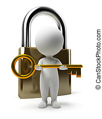 3d small people with a key and the lock. 3d image. Isolated white background.