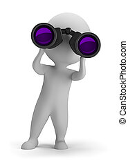 3d small person looking through binoculars. 3d image. Isolated white background.
