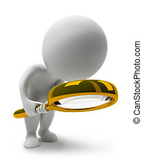 3d small people with a loupe. 3d image. Isolated white background.