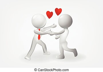 3D small people love relationship logo vector design