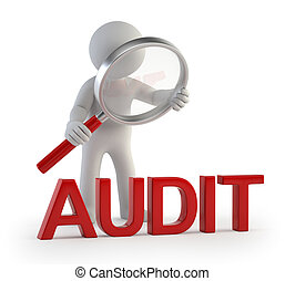3d small people - lupe audit - little man makes checking,...