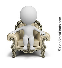 3d small person sitting in a luxurious armchair. 3d image. Isolated white background.