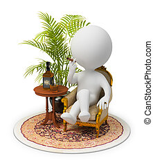 3d small people sitting in an armchair with a cigar, in luxury conditions. 3d image. Isolated white background.
