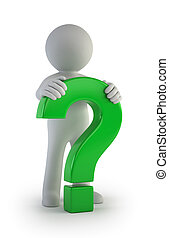 3d small people - male green question mark