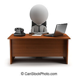 3d small people - manager - 3d small person - manager sits...