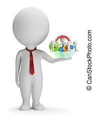 3d small people - manager and his team