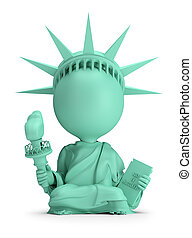 3d small people - meditating Statue of Liberty