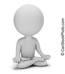 3d small people - meditation pose