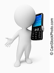 3d small people with a black mobile phone. 3d image. Isolated white background.