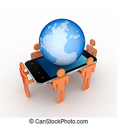 3d small people, mobile phone and big globe.