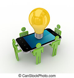 3d small people, mobile phone and idea symbol.