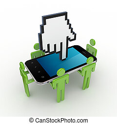 3d small people, mobile phone and large cursor.