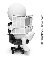 3d small people reading the newspaper sitting in a working armchair. 3d image. Isolated white background.