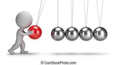 3d small people - Newtons cradle - 3d small people swaying...