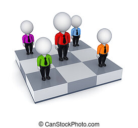 3d small people on a chessboard.Isolated on white...
