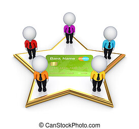 3d small people on a star around credit card.