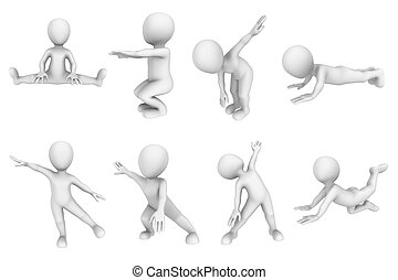 3d small people on fitness training.