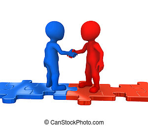 3d small people on puzzles, handshake