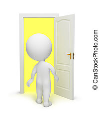 3d small people opened a door in other dimension. 3d image. Isolated white background.
