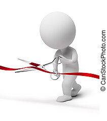 3d small people scissoring a red tape. 3d image. Isolated white background.