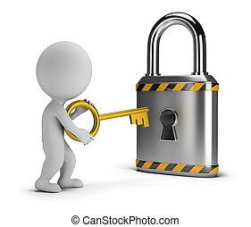 3d small people - opens the lock