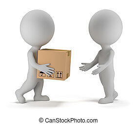 3d small people deliver a parcel to another person. 3d image. Isolated white background.