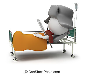 3d small people - patient lying in bed with a thermometer and in a cap. 3d image. Isolated white background.