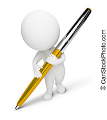 3d small people writes the pen. 3d image. Isolated white background.