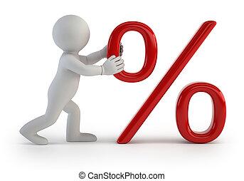 3d small people - percent symbol