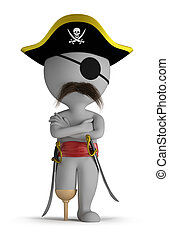 3d small person - one-legged pirate hat, and with swords. 3d image. Isolated white background.