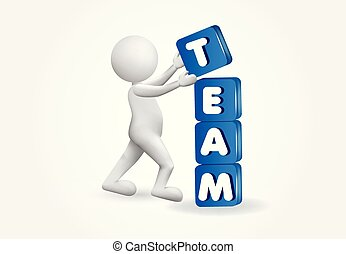 3d small people placing team cubes vector image