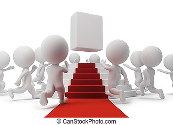 3d small people running to the popular goods on a pedestal. 3d image. Isolated white background.