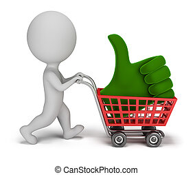 3d small people - positive symbol in the cart - 3d small...