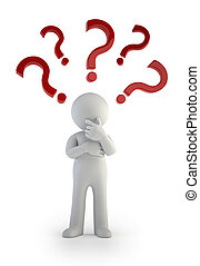 3d small people - Question mark. Confusion - the little man...