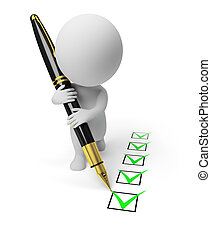 3d small person with the pen puts ticks in the list. 3d image. Isolated white background.