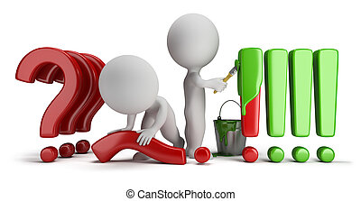 3d small people straighten question marks and exclamation marks painted. 3d image. Isolated white background.