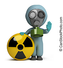 3d small person in a gas mask next to the sign of radiation. 3d image. Isolated white background.
