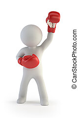 3d small people - red boxing gloves