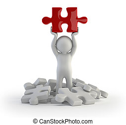 3d small people - red puzzle - little man found the right ...