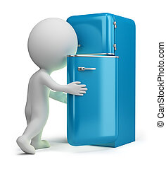 3d small people - retro fridge - 3d small person looking...