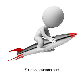 3d small people - rocket - 3d small people flying on the...