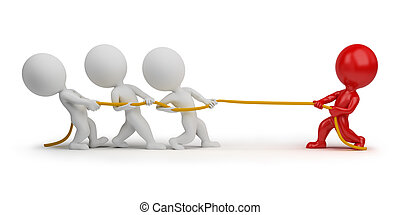 3d small people - rope pulling. 3d image. Isolated white...