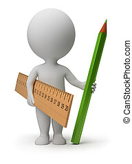 3d small person with a ruler and a green pencil. 3d image. Isolated white background.