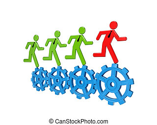 3d small people running on a gears.