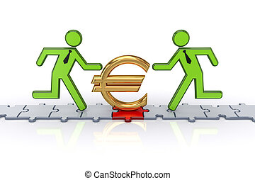 3d small people running on puzzles and euro sign.