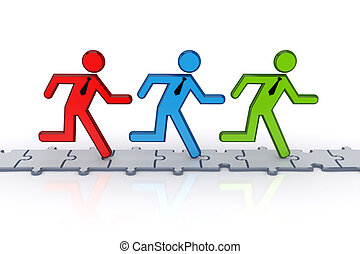 3d small people running on puzzles.