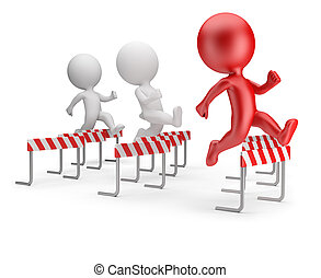 3d small people - running with obstacles